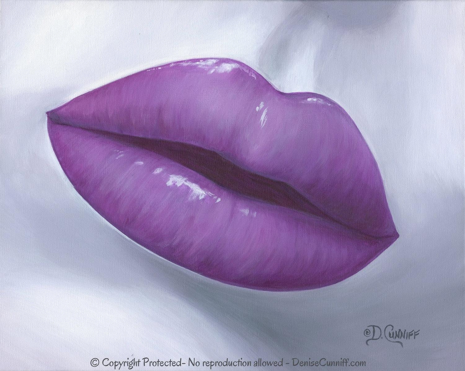 Pop Art Canvas Print Large Lip Art Contemporary Gray & Plum With Plum Wall Art (View 17 of 20)