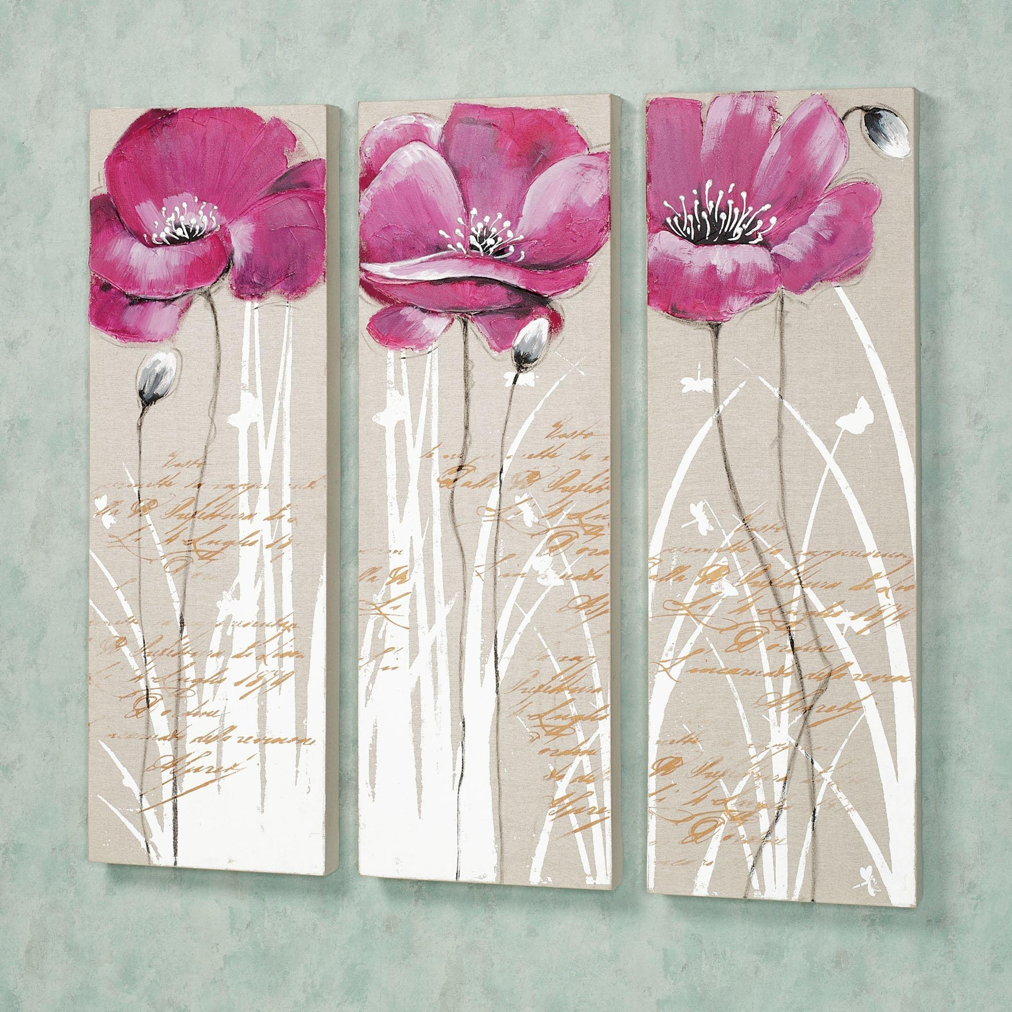 Poppy Blossoms Floral Canvas Wall Art Set Throughout Floral Wall Art Canvas (Image 16 of 20)