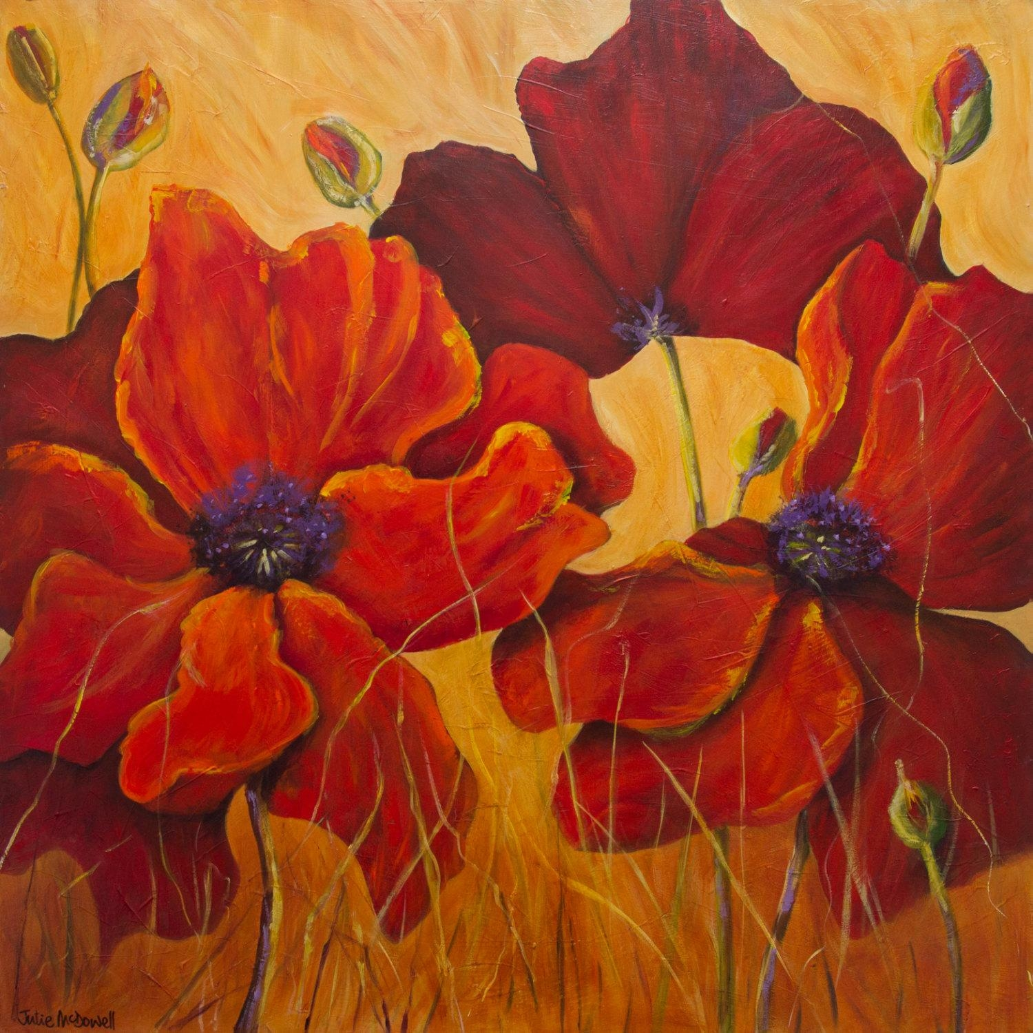 Poppy Flowers Poppy Painting Poppy Wall Art Floral Art Print Pertaining To Red And Yellow Wall Art (Image 16 of 20)