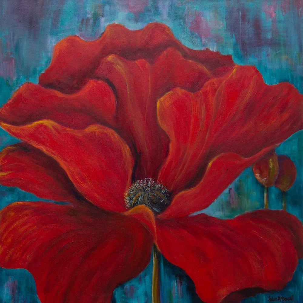 Poppy Painting Red Floral Art Red And Turquoise Art Poppy With Red And Turquoise Wall Art (Image 16 of 20)