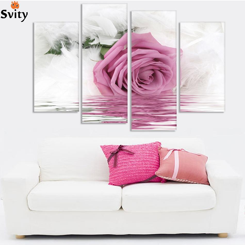 Popular Pink Rose Canvas Wall Art Buy Cheap Pink Rose Canvas Wall With Regard To Rose Canvas Wall Art (Image 15 of 20)