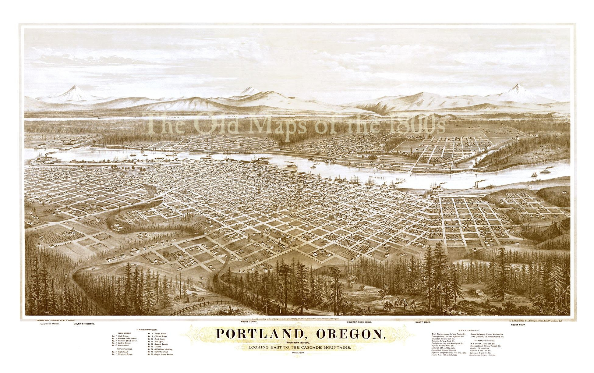 Portland, Oregon In 1879 – Bird's Eye View Map, Aerial Map Within Vintage Map Wall Art (Image 13 of 20)