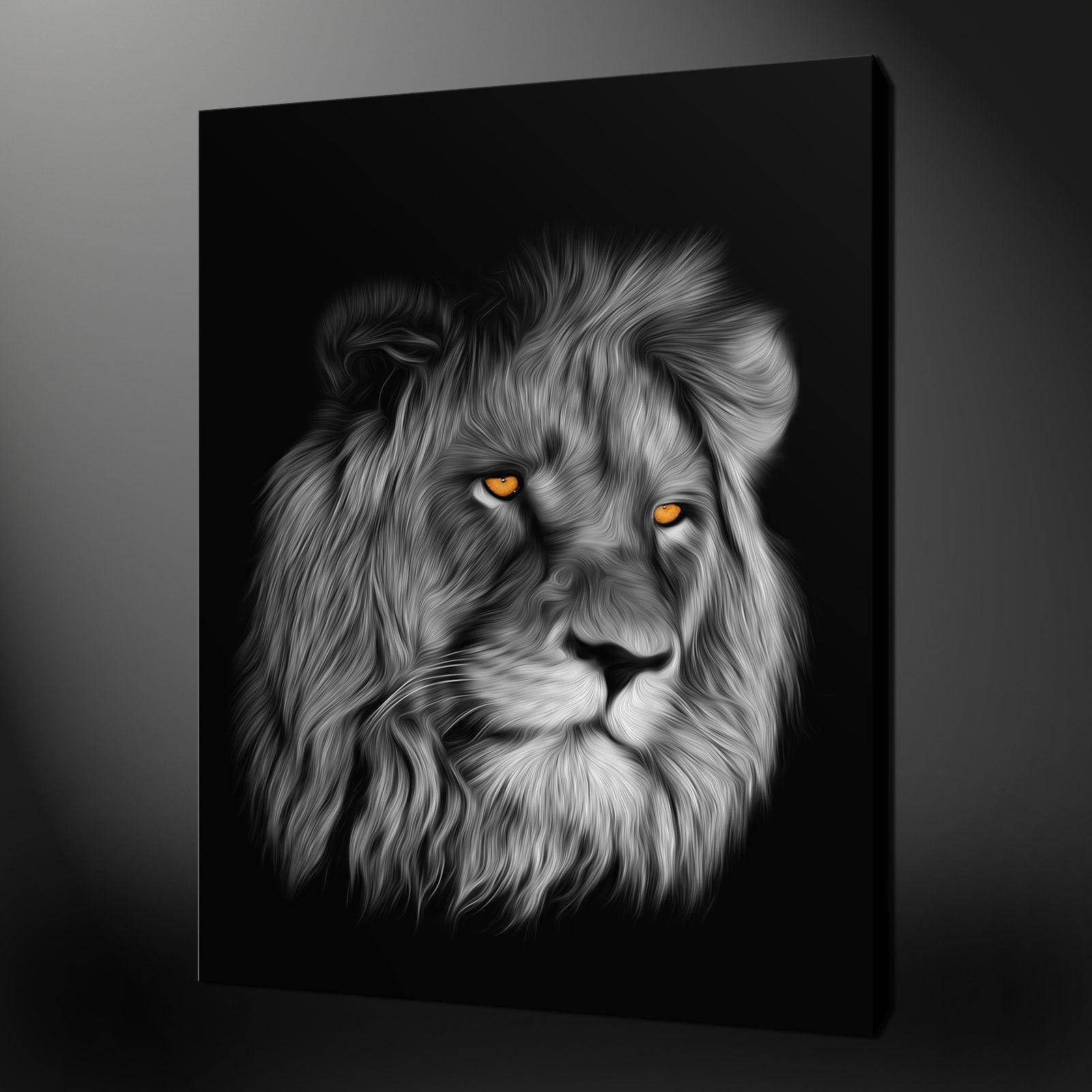 Portrait Lion Canvas Wall Art Pictures Prints Painting Style Free Throughout Lion Wall Art (Image 17 of 20)