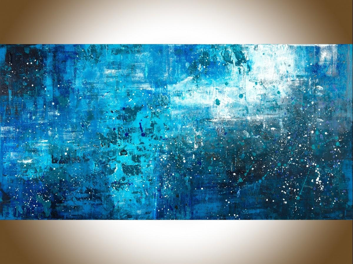 "Pouring Rainqiqigallery 48"" X 24"" Large Wall Art Blue Abstract Regarding Large Teal Wall Art (View 10 of 20)"
