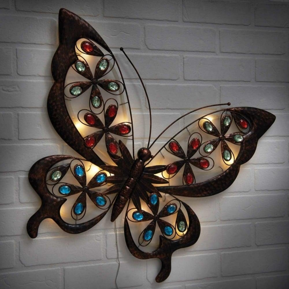Powertek Large Solar Butterfly Wall Art | Garden Street Inside Large Metal Butterfly Wall Art (View 1 of 20)