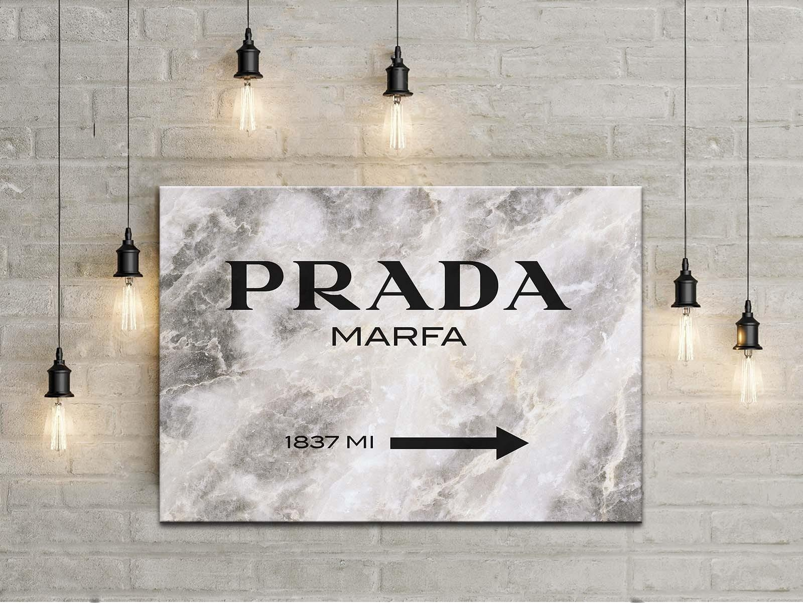 Prada Marfa Gossip Girl Sign, Painting Canvas Art, Wall Art, Home Regarding Prada Wall Art (Image 12 of 20)