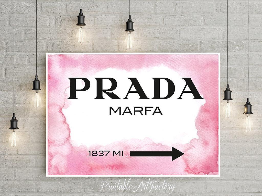 Prada Marfa Pink Watercolor Instant Download Printable 1837 Regarding Prada Wall Art (View 18 of 20)