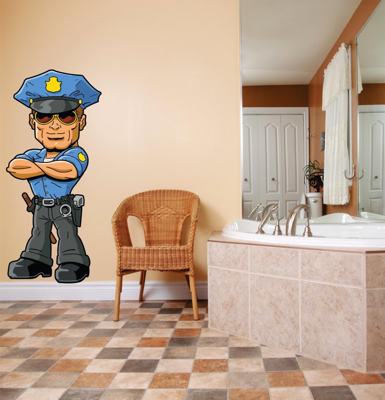 Preschool Classroom Cartoon Character Cop Police Officer Nypd Regarding Preschool Classroom Wall Decals (View 14 of 20)