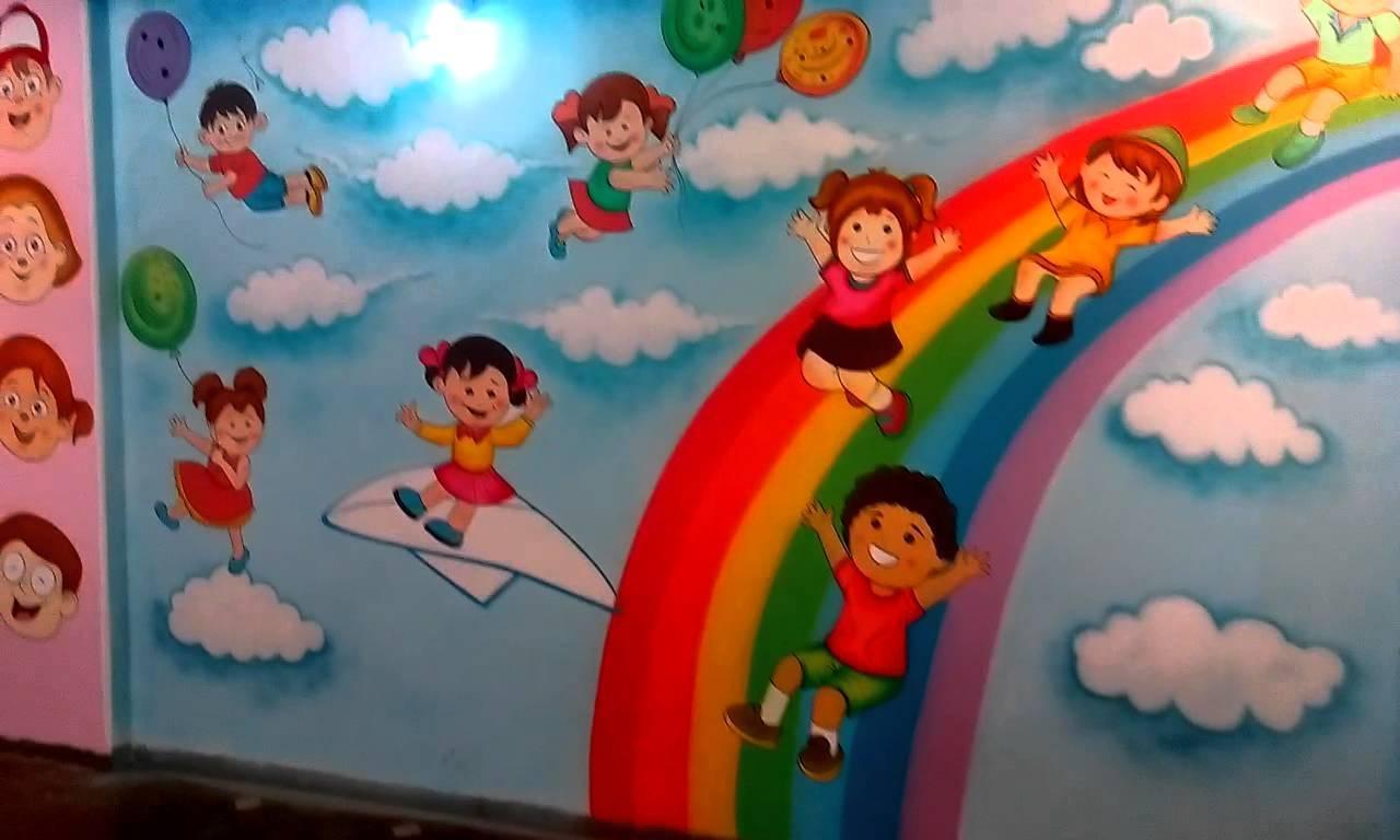 Preschool Playschool Classroom Wall Theme Painting Mumbai India pertaining to Preschool Wall Decoration