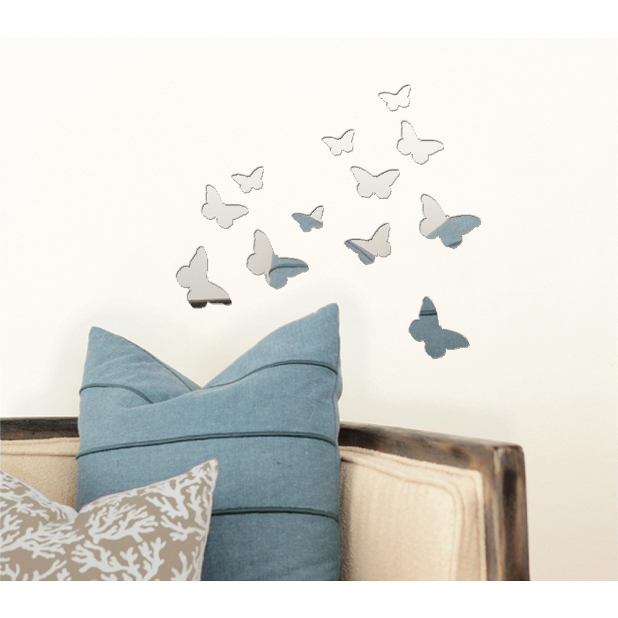Pressed Petals Butterfly Mirror Decal – Walmart With Walmart Wall Stickers (View 14 of 20)