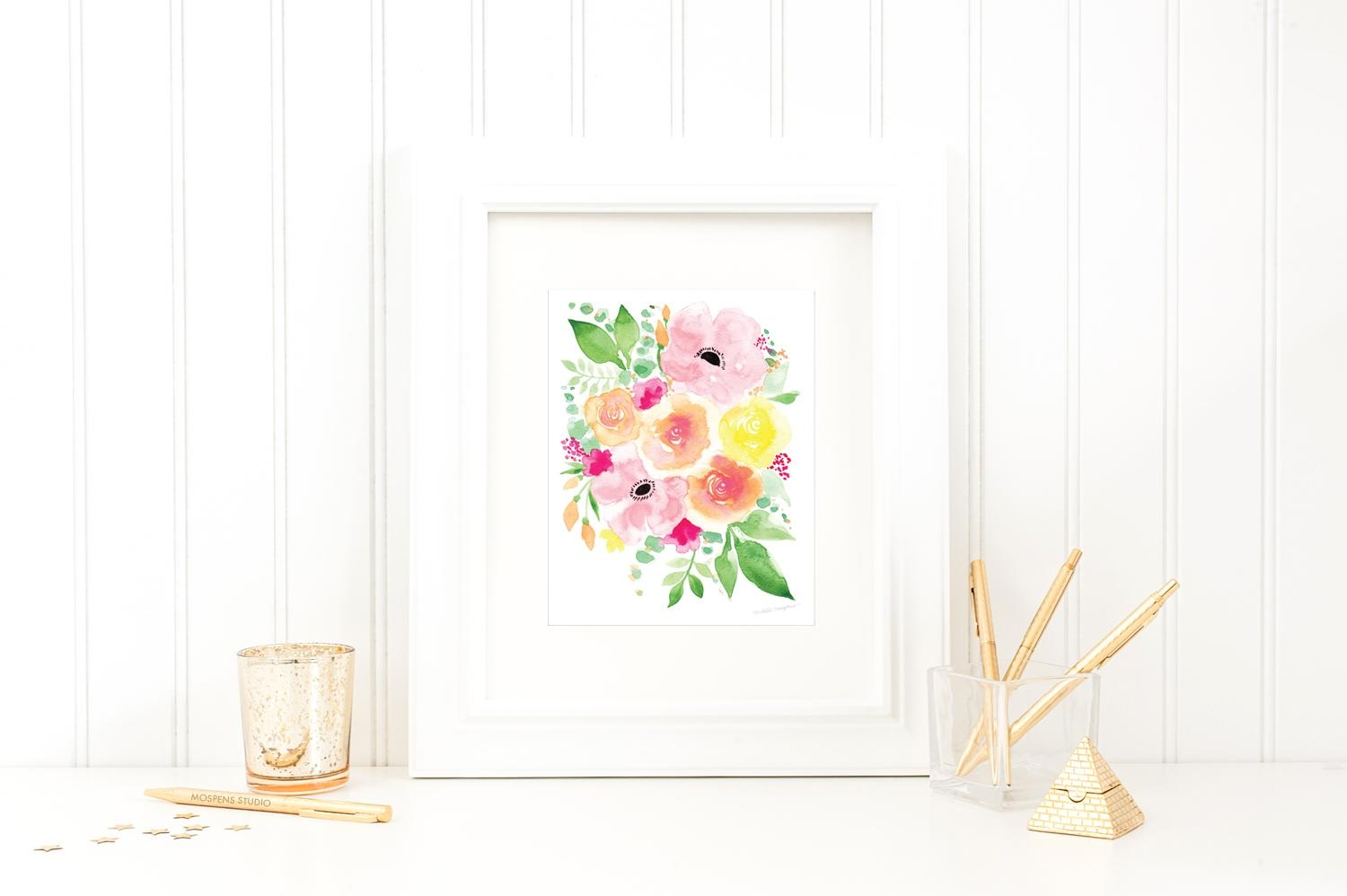 Pretty Floral Art Prints | Mospens Studio With Regard To Floral & Plant Wall Art (Image 16 of 20)