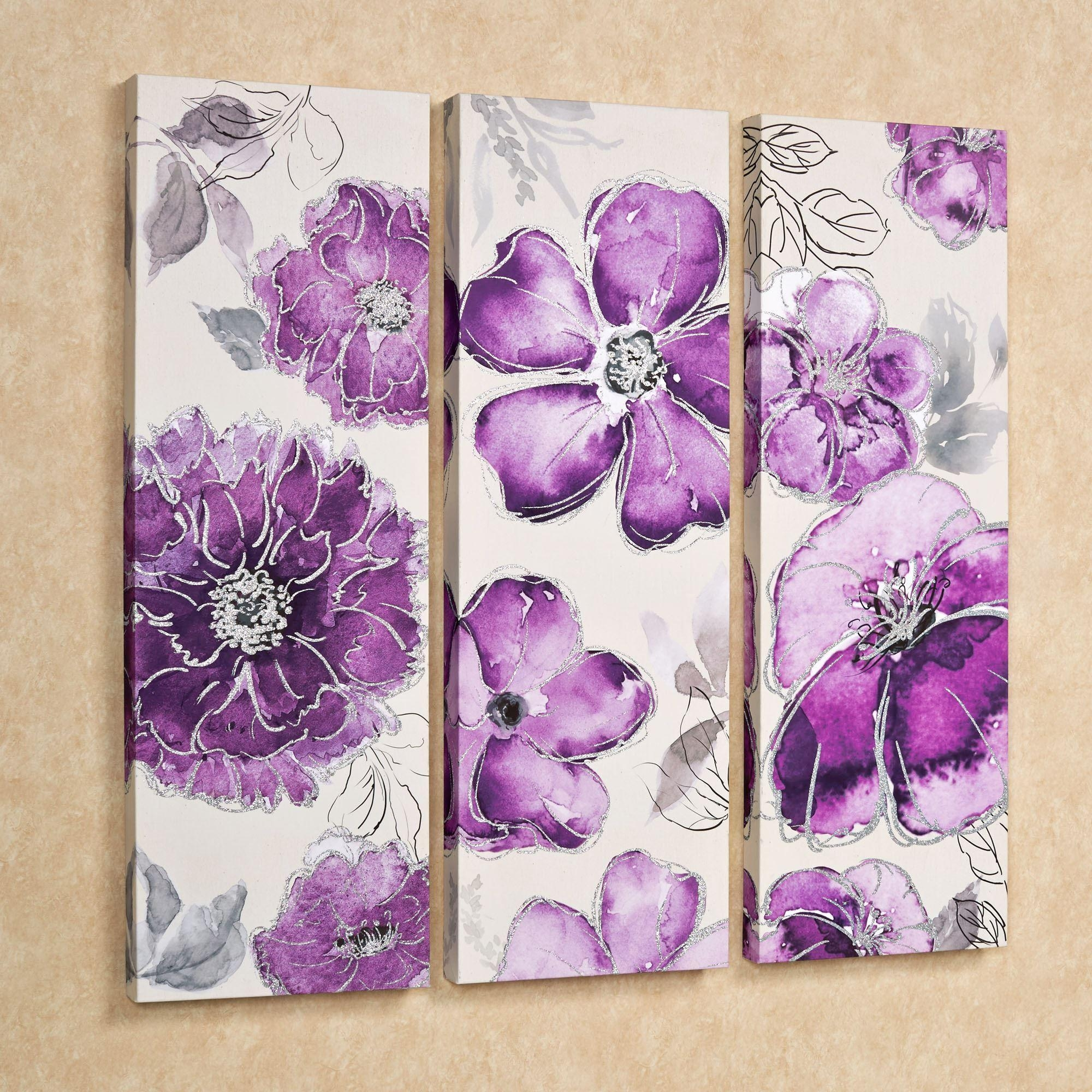 Pretty In Floral Canvas Triptych Wall Art Set Inside Purple Wall Art Canvas (Image 12 of 20)