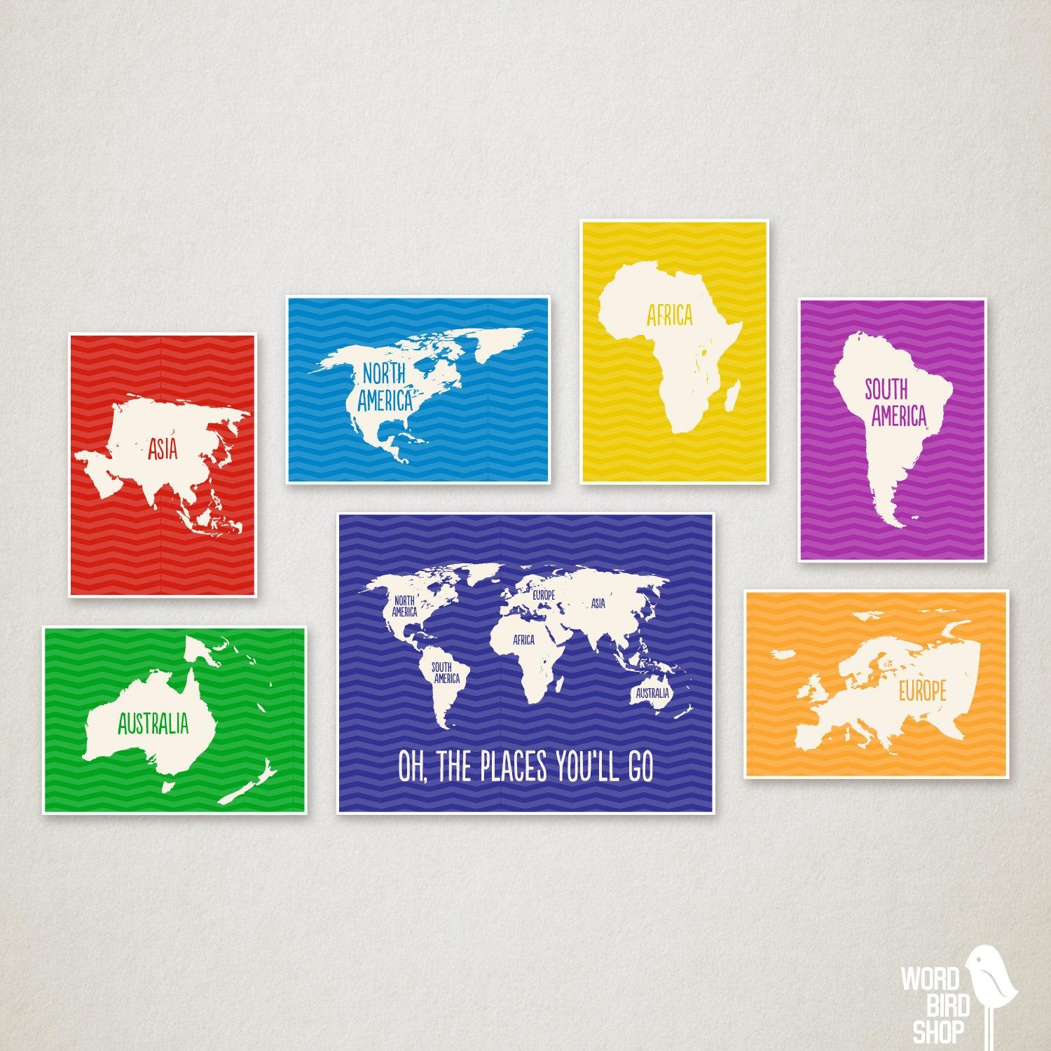 Primary Colors Nursery World Map Kids Wall Art Playroom Wall Intended For Playroom Wall Art (Image 15 of 20)