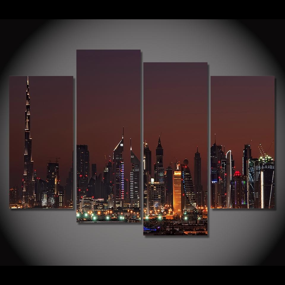 Print Canvas Painting Dubai United Arab Emirates Night Wall Art In Wall Art For Bar Area (Image 14 of 20)