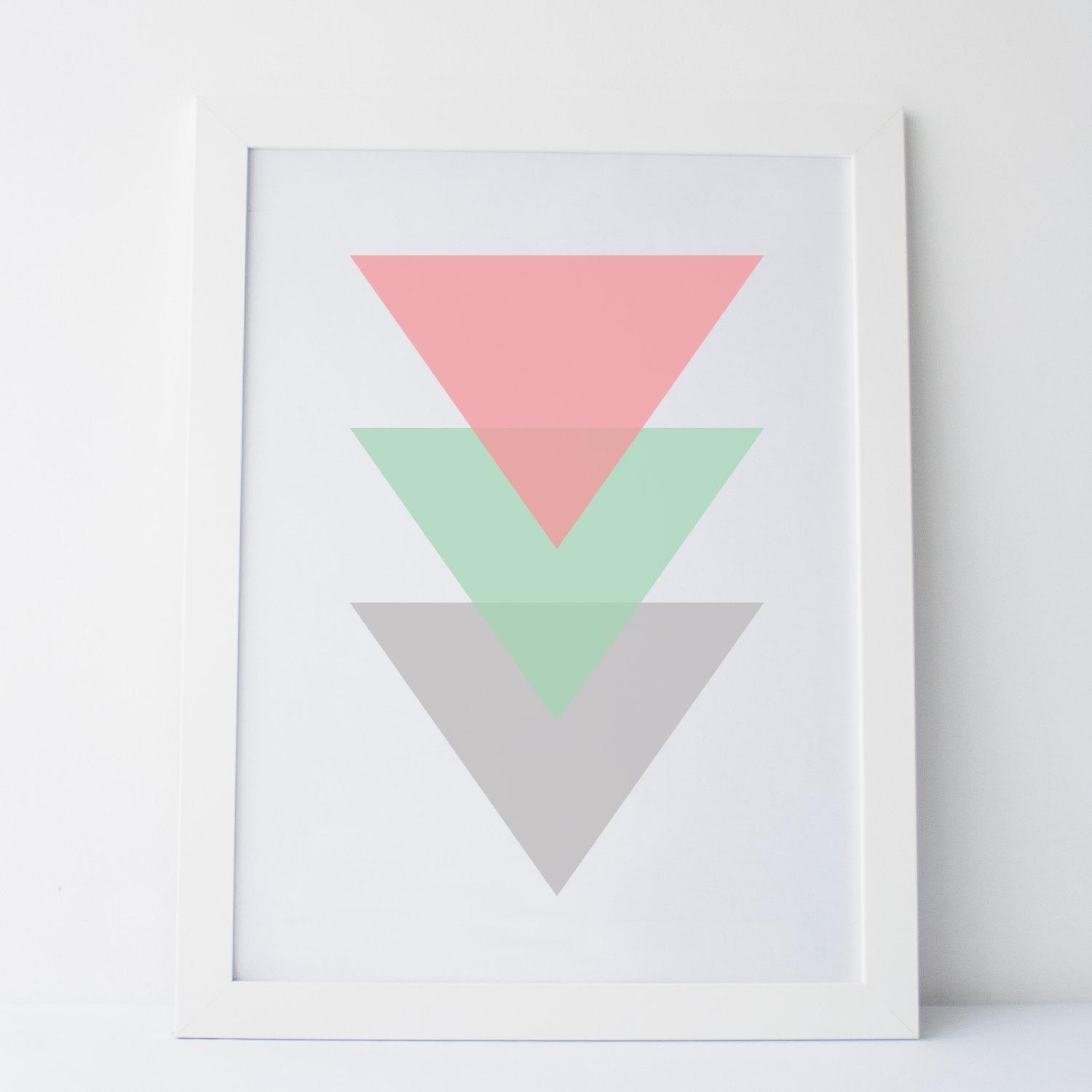 Printable Art Pink Mint And Grey Wall Art Triangle Print With Regard To Pink And Grey Wall Art (View 17 of 20)