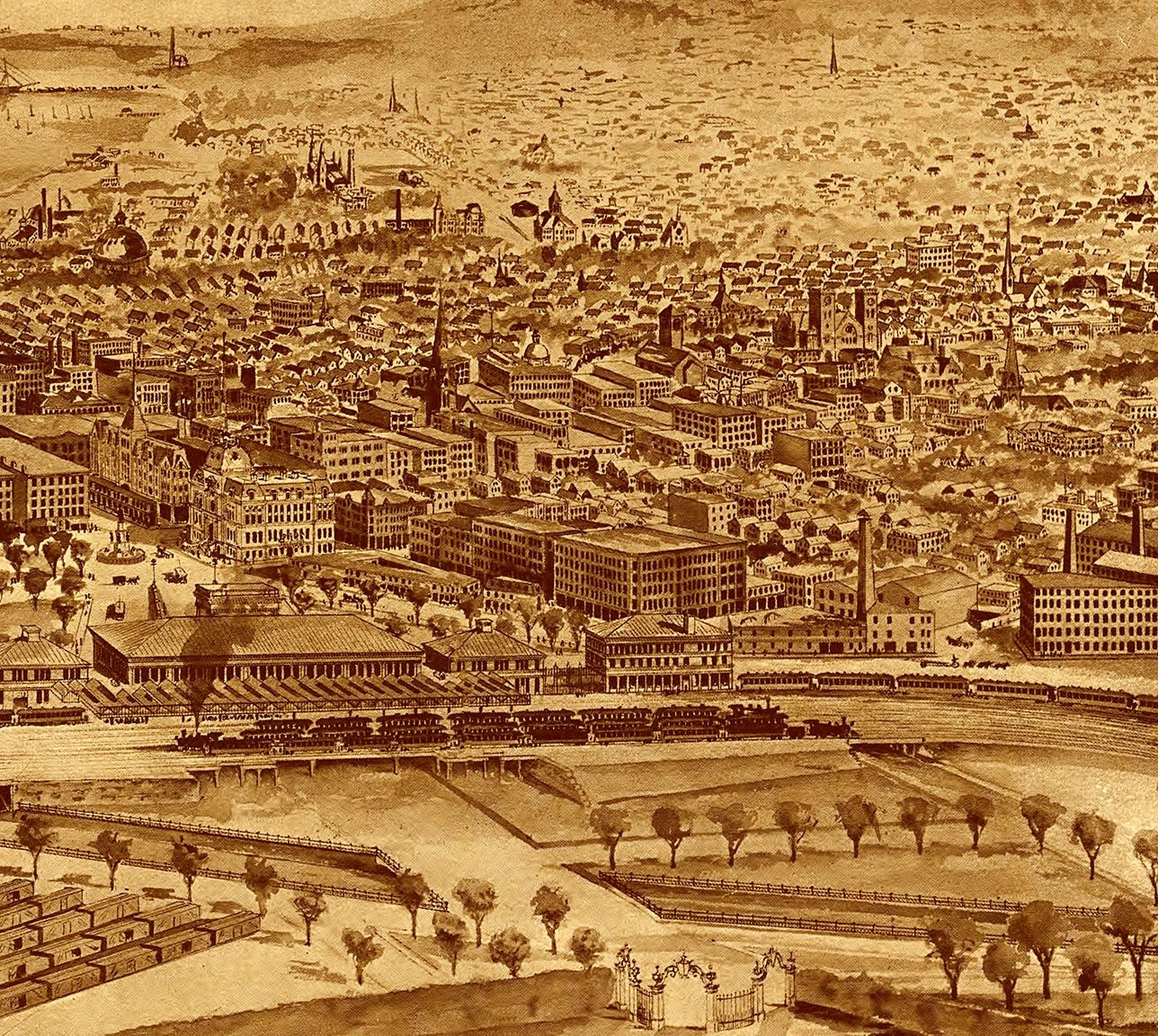 Providence, Ri In 1896 – Bird's Eye View Map, Aerial Map, Panorama Intended For Antique Map Wall Art (View 7 of 20)
