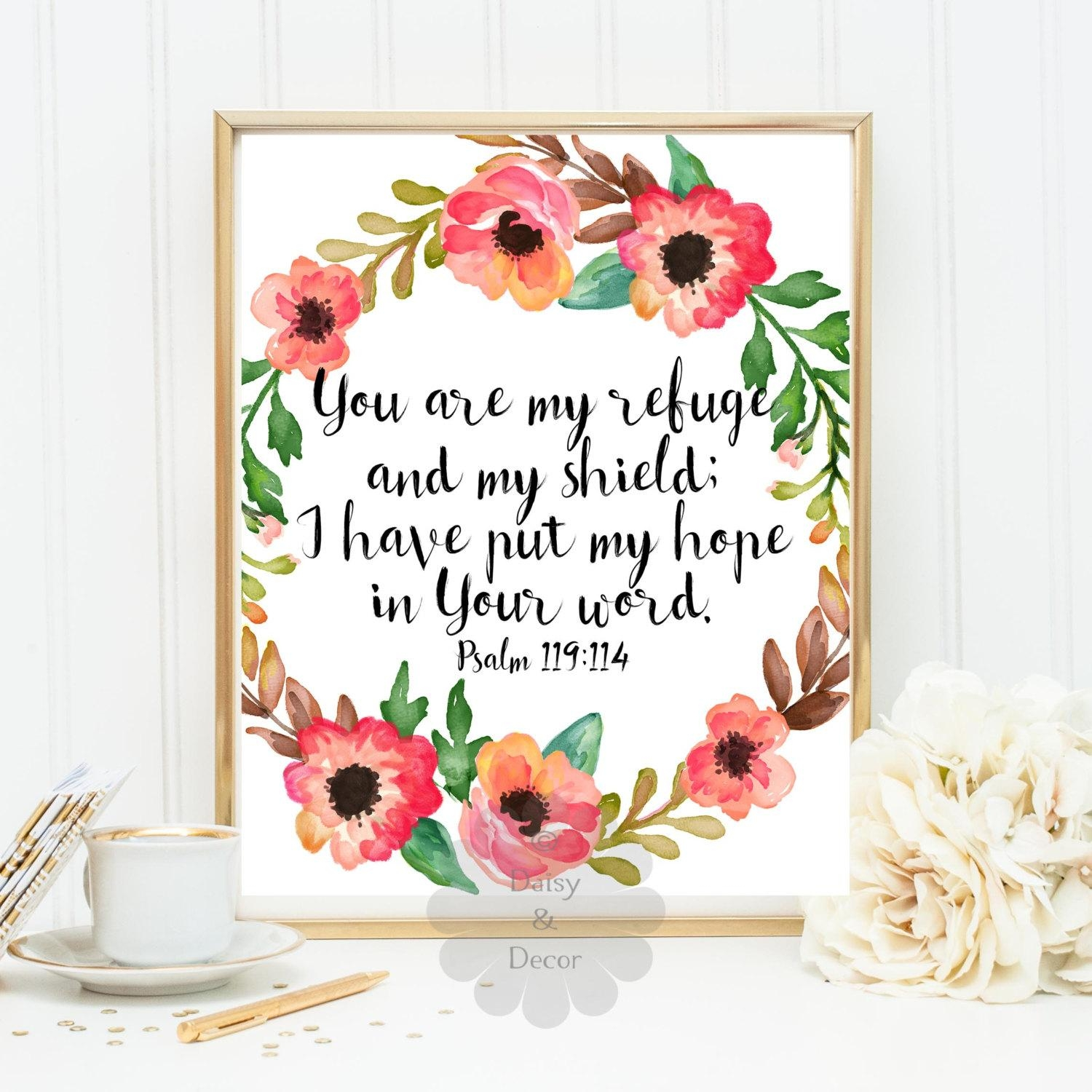 Psalm 119:114 Bible Verse Printable Verse Scripture Print You Inside Bible Verses Framed Art (Image 16 of 20)