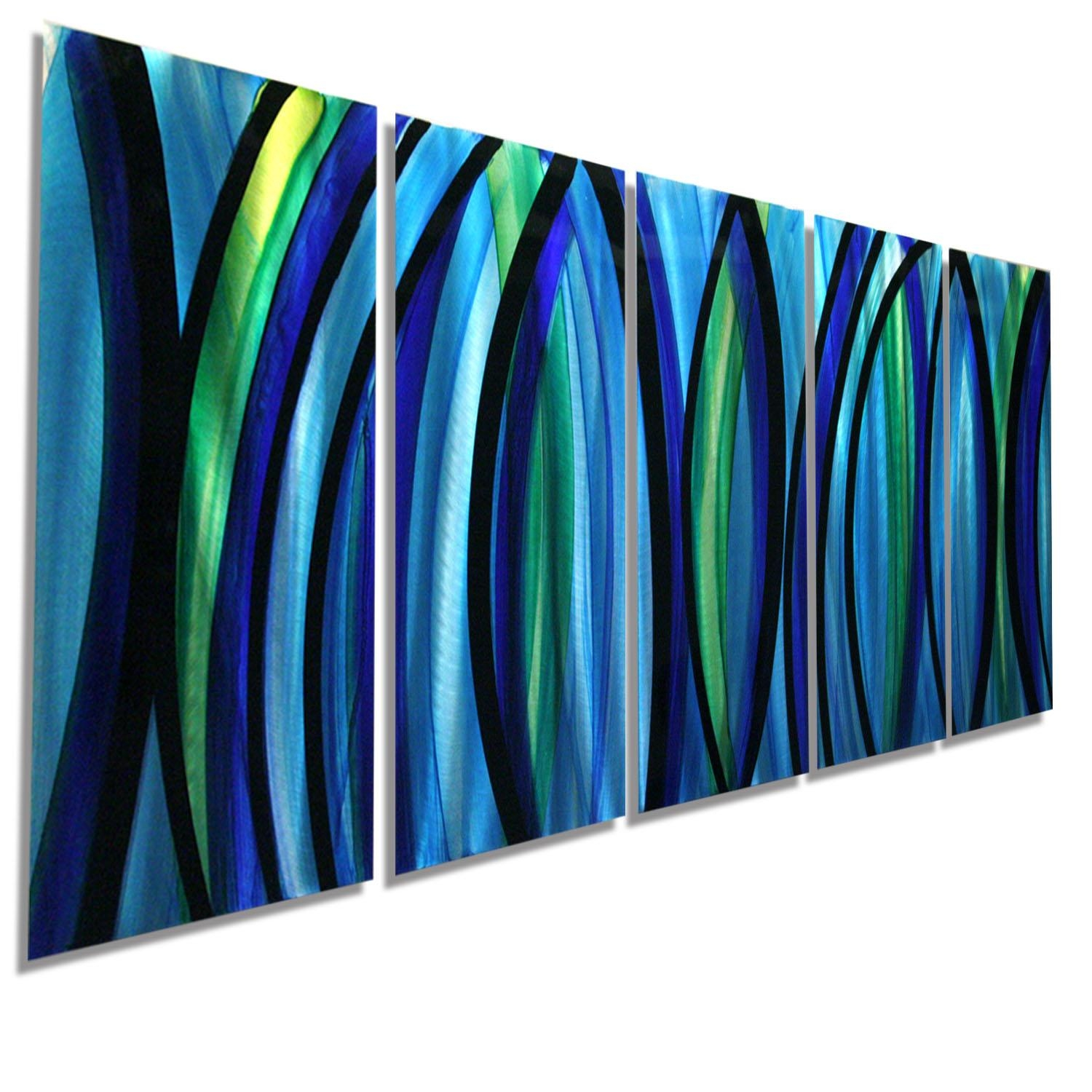 Psychedelic Rush Xl – Modern Abstract Painting Blue/silver Metal Intended For Blue And Green Wall Art (Image 13 of 20)