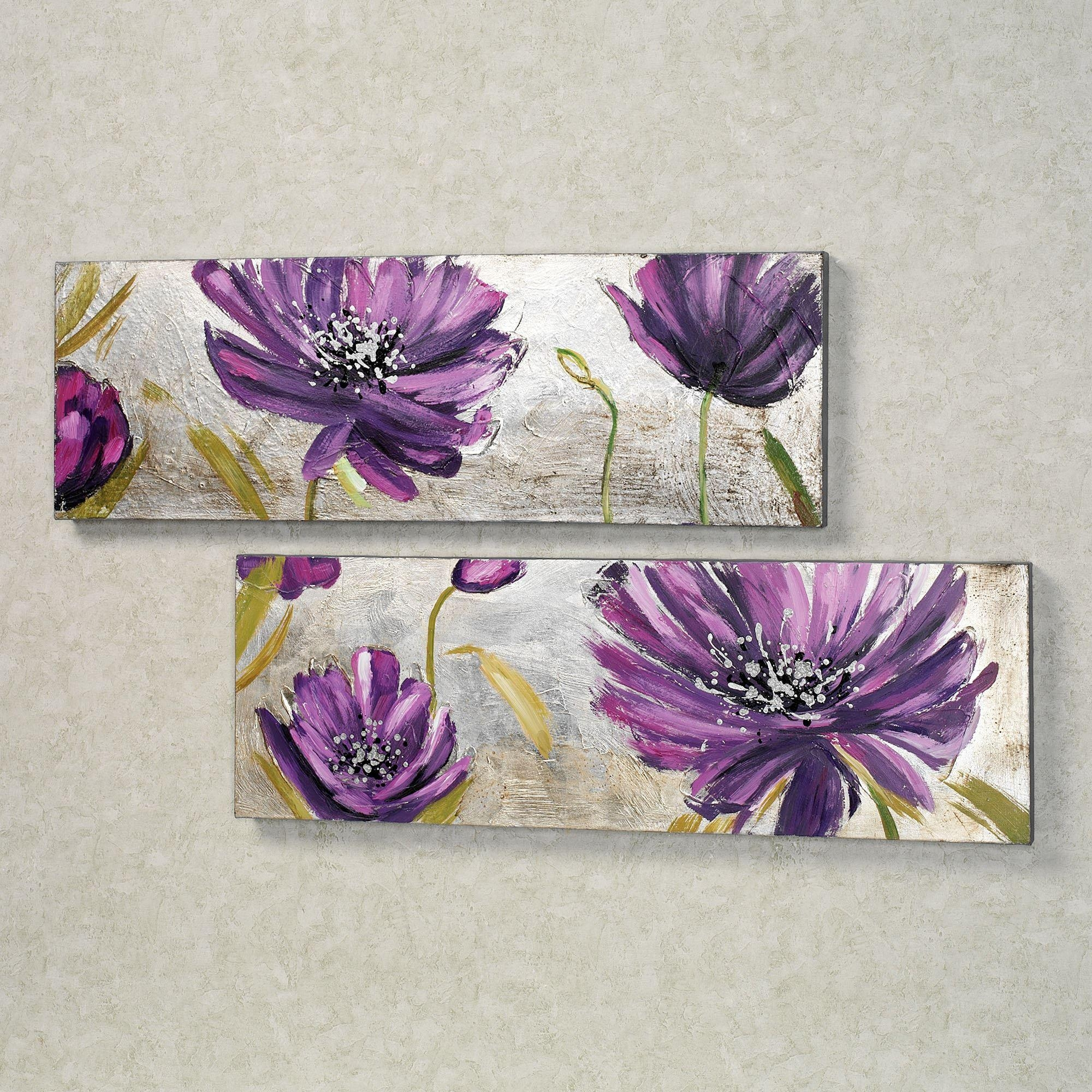 Purple Allure Floral Canvas Wall Art Set Regarding Purple Wall Art (Image 13 of 20)