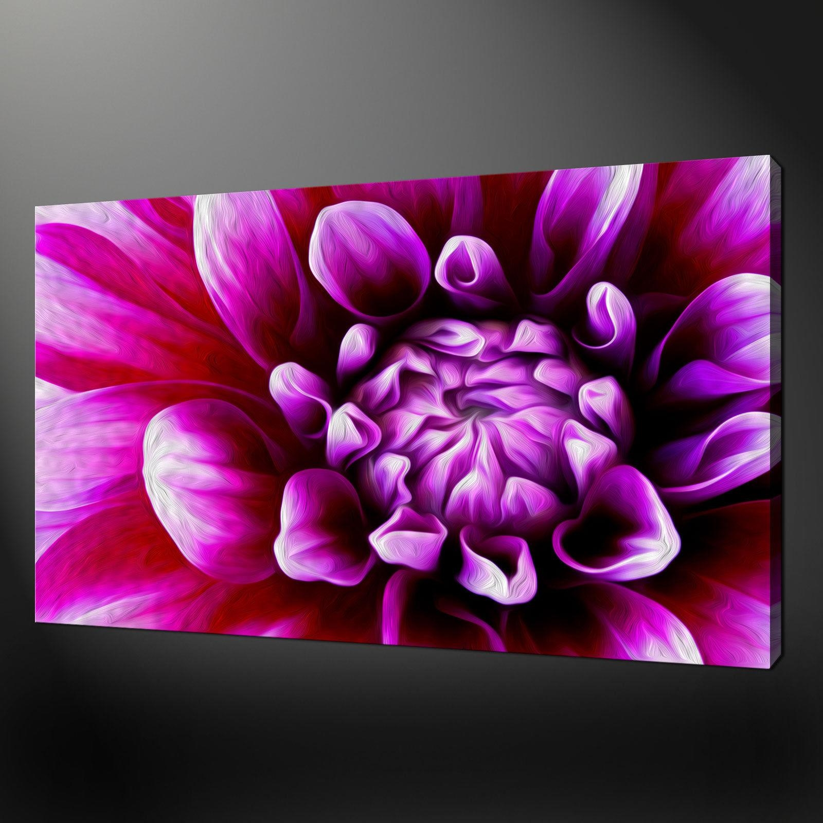 Purple Flower Dahlia Canvas Wall Art Pictures Prints Free Fast Uk Pertaining To Purple Canvas Wall Art (View 19 of 20)