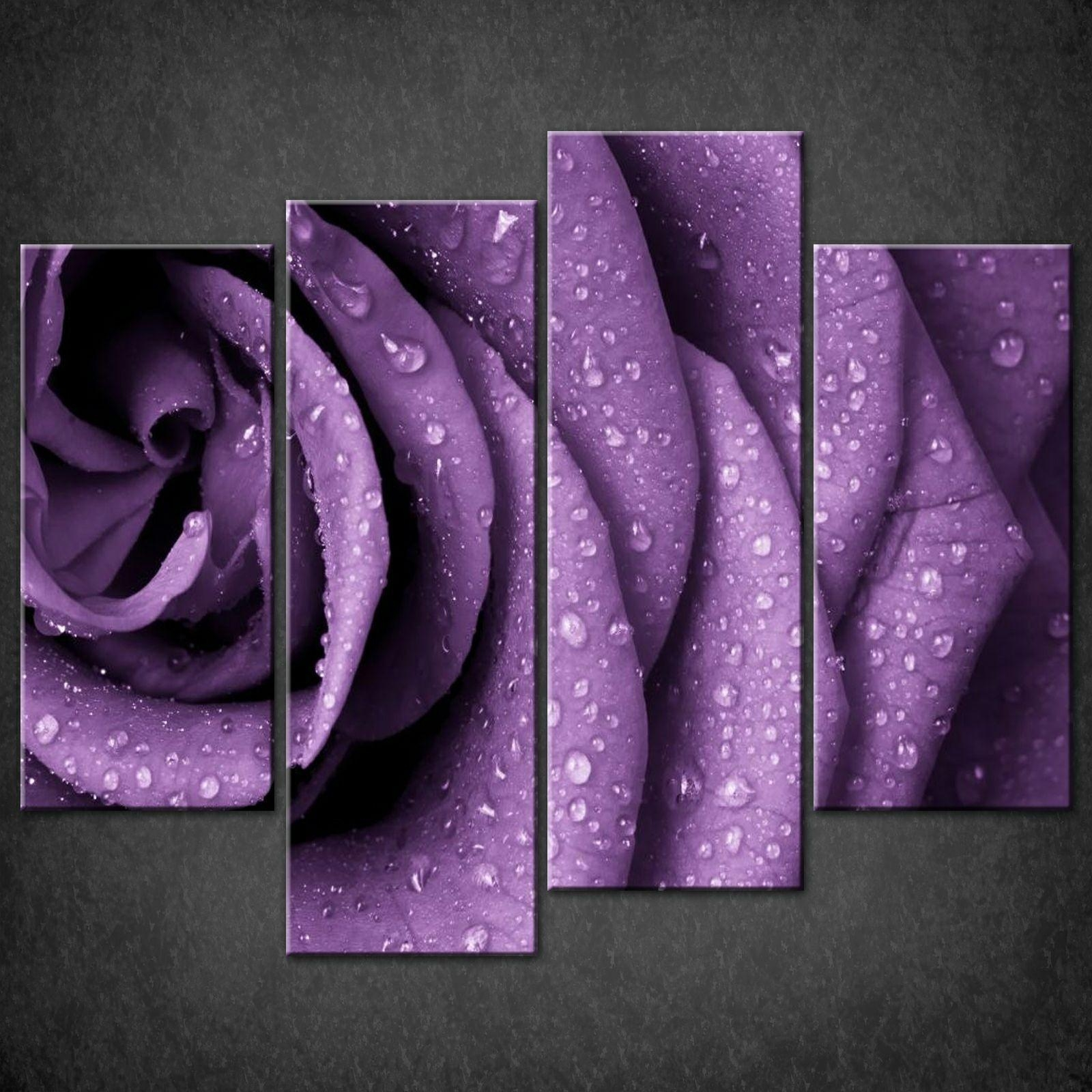Purple Rose Split Canvas Wall Art Pictures Prints Larger Sizes For Purple Wall Art (View 8 of 20)