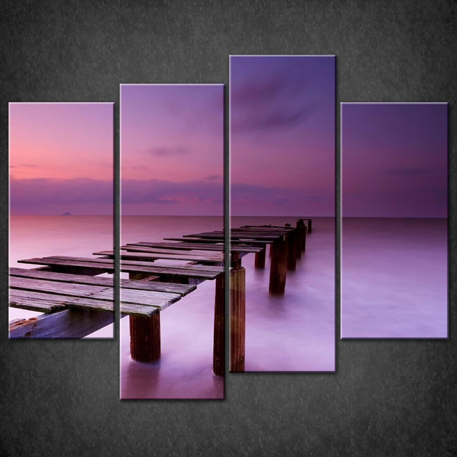 Purple Sky Dock Canvas Wall Art Pictures Prints Decor Larger Sizes Intended For Purple Canvas Wall Art (View 3 of 20)