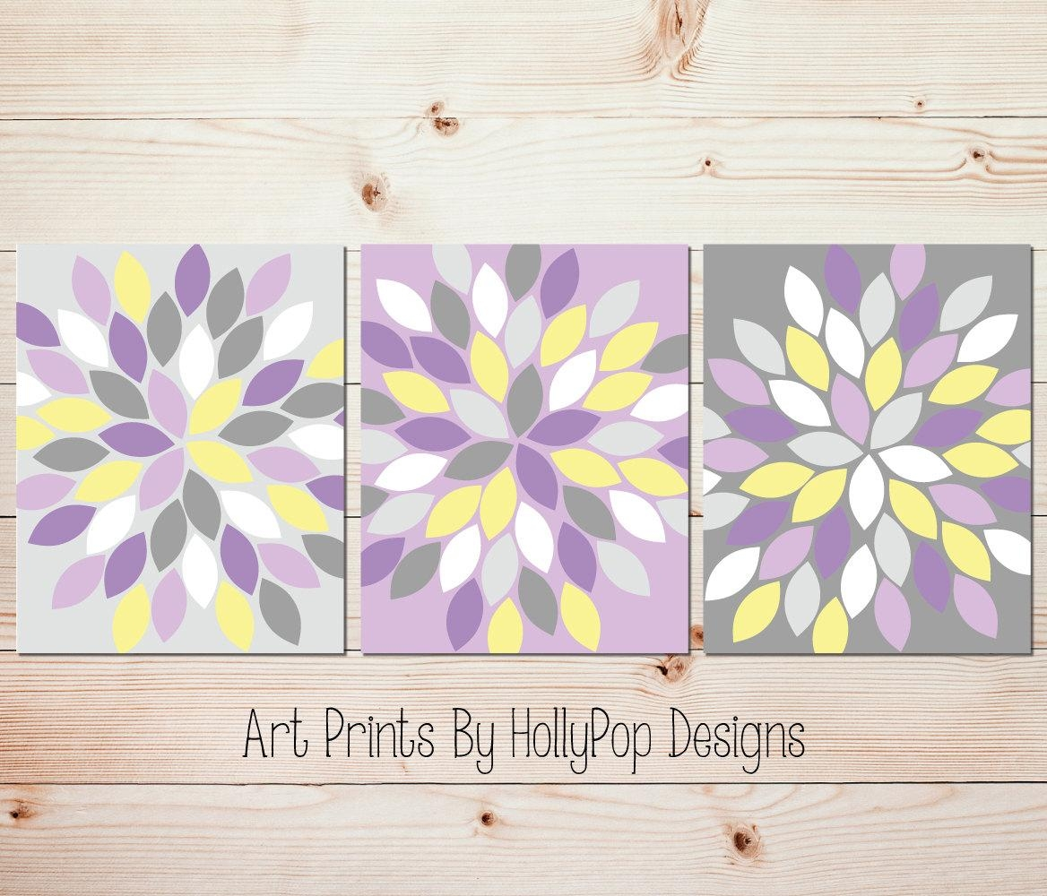 Purple Yellow Gray Wall Art Bedroom Wall Art Bathroom Wall Art For Yellow And Gray Wall Art (Image 6 of 20)