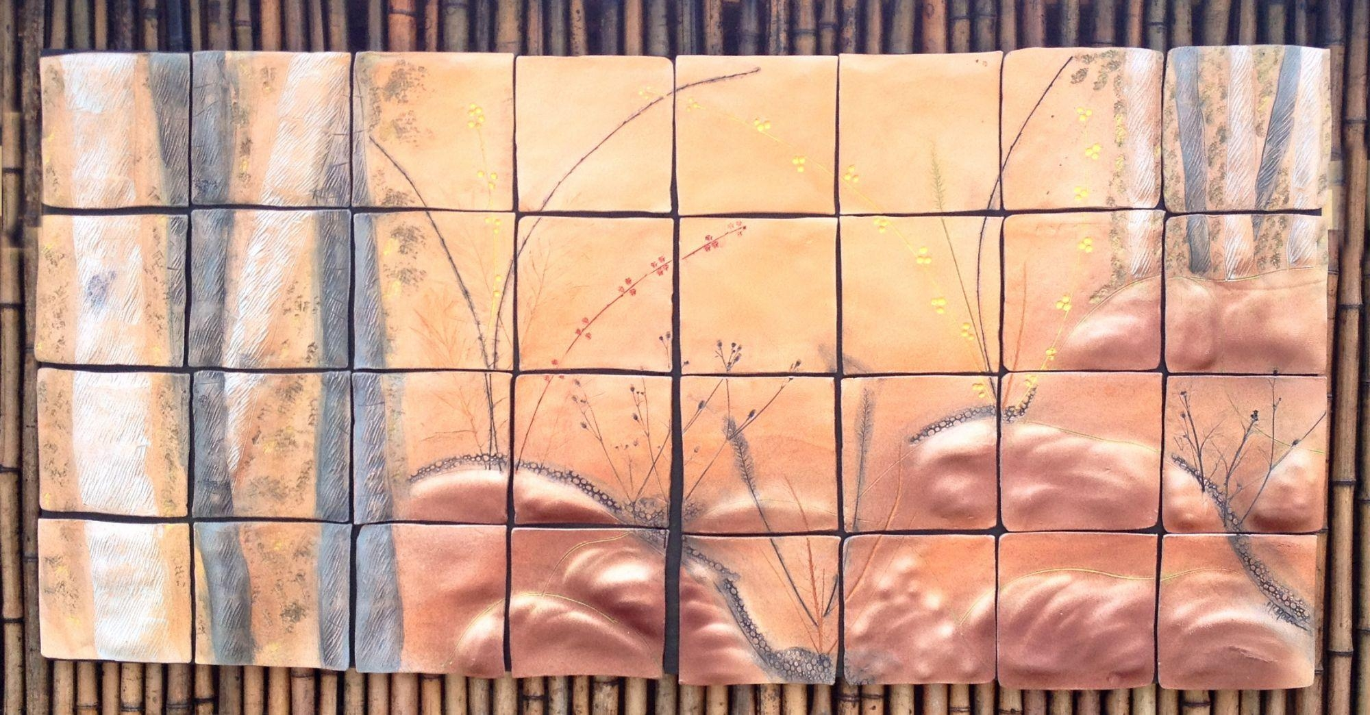 Quaking Aspen: Ceramic Tile Wall Art, Original Ceramic Art Piece In Ceramic Tile Wall Art (View 15 of 20)