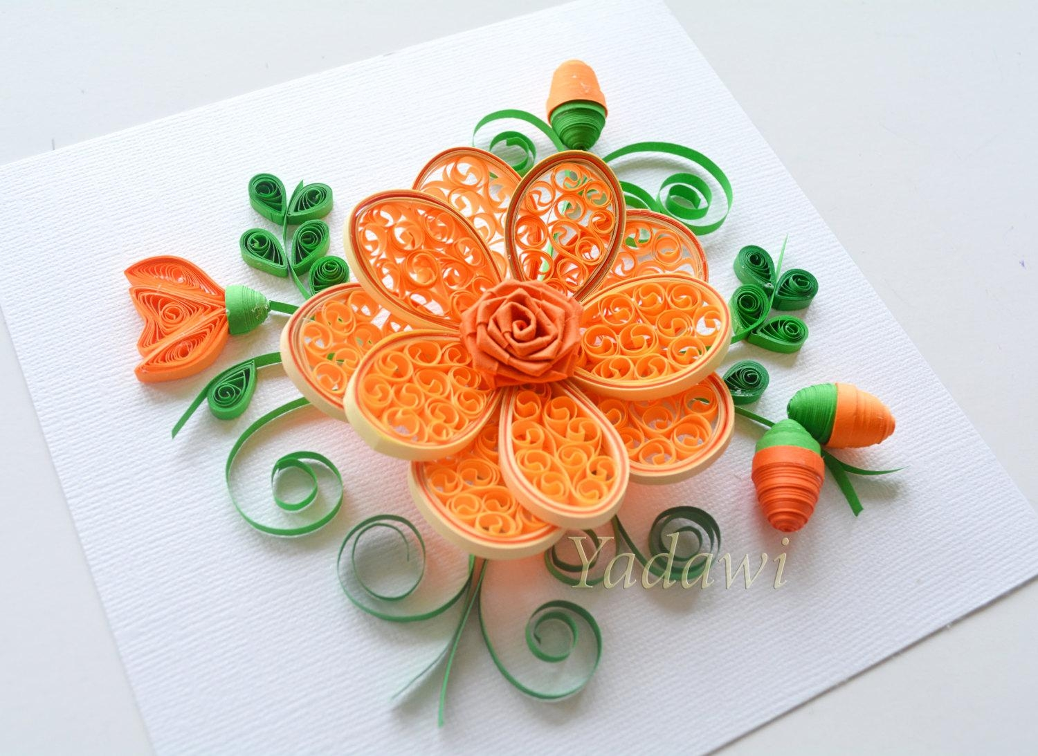 Quilled Paper Art Quilled Flower Paper Wall Art 3D Paper With Regard To 3D Paper Wall Art (Image 17 of 20)