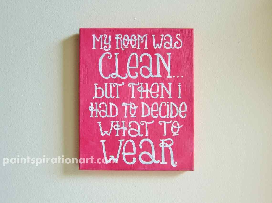 Quote Canvas Painting 8X10 Pink Wall Art Custom College Dorm Within Wall Art For Teenagers (Image 12 of 20)