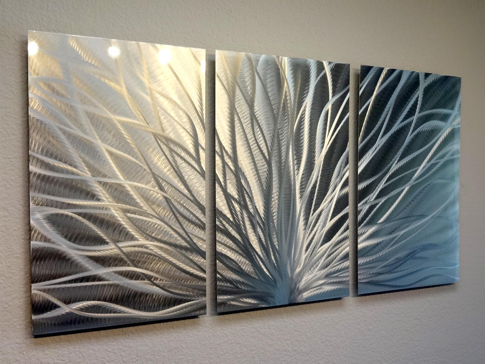 Radiance – 3 Panel Metal Wall Art Abstract Contemporary Modern Inside Three Panel Wall Art (Image 13 of 20)