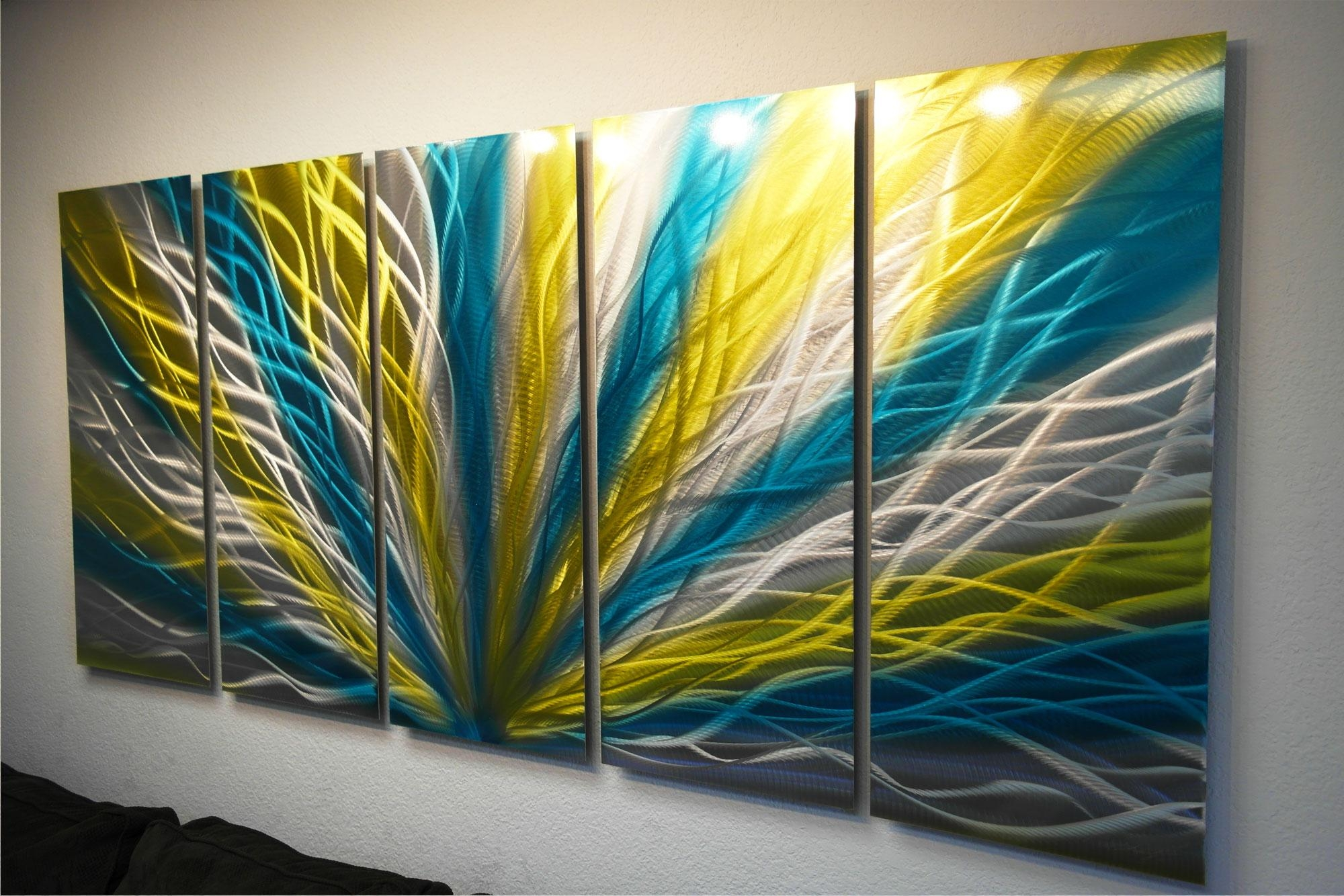 Radiance Blue Yellow 36X79 – Metal Wall Art Abstract Sculpture Throughout Yellow And Blue Wall Art (Image 12 of 20)