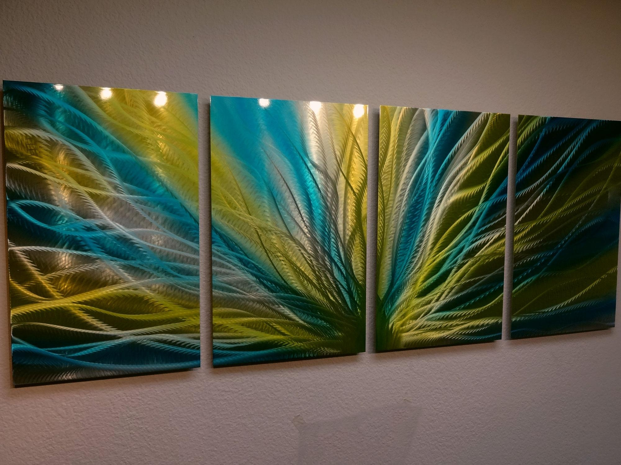 Radiance Blue Yellow- Metal Wall Art Abstract Contemporary Modern inside Yellow and Blue Wall Art