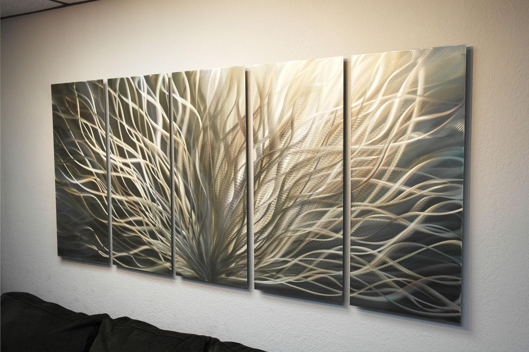Radiance Gold Silver 36X79 – Metal Wall Art Abstract Sculpture Within Silver And Gold Wall Art (View 4 of 20)