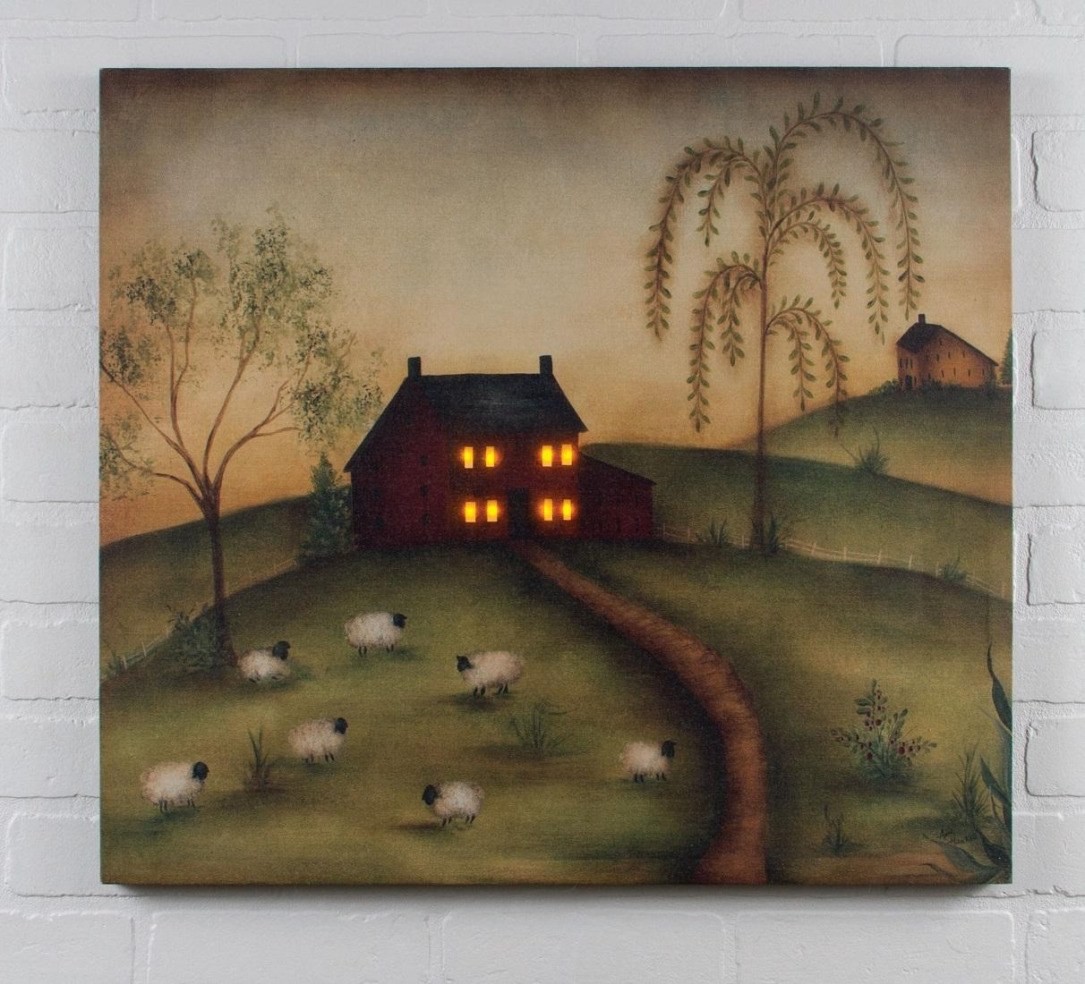 Radiance Lighted Canvas Good Life Folk Art Saltbox House, Sheep With Billy Jacobs Framed Wall Art Prints (View 7 of 20)