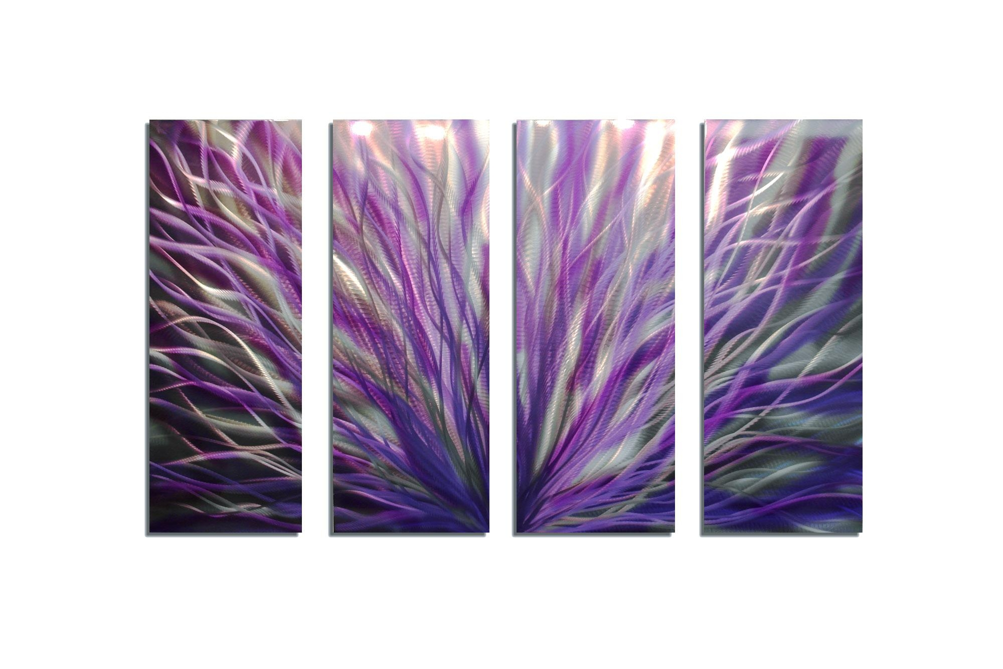 Radiance Purple 36X63 – Abstract Metal Wall Art Contemporary Regarding Purple Abstract Wall Art (Image 14 of 20)