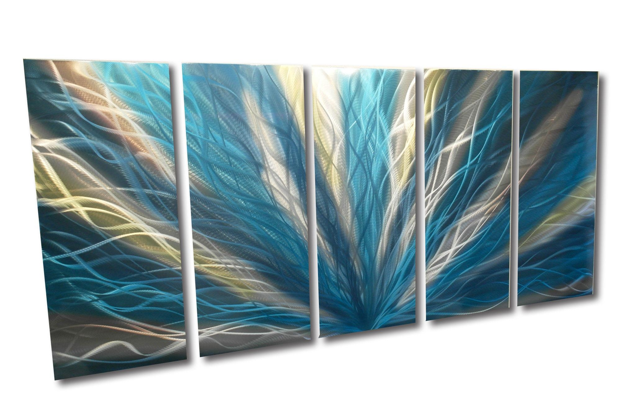 Radiance Teal 36X79 – Metal Wall Art Abstract Sculpture Modern Pertaining To Turquoise And Brown Wall Art (View 6 of 20)