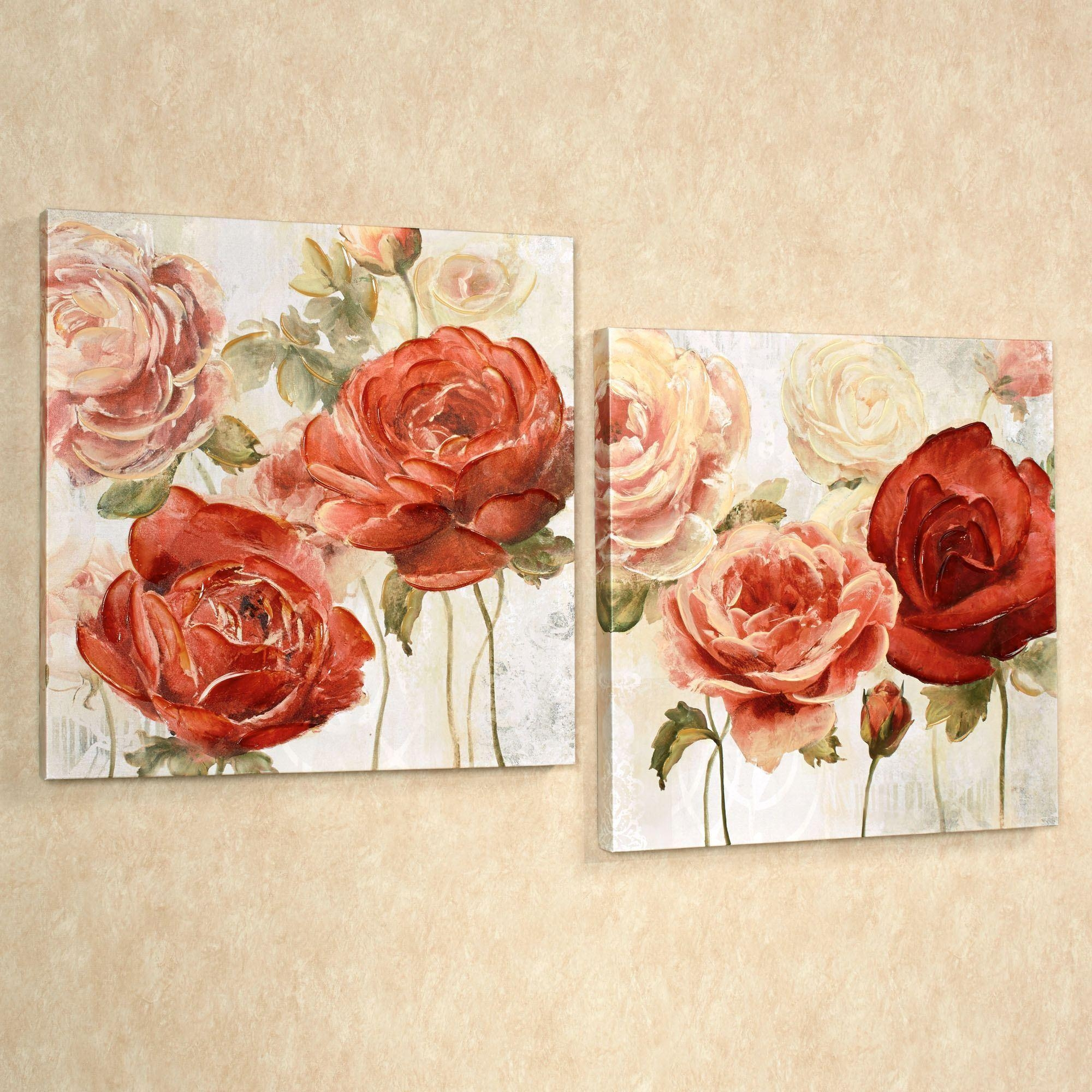 Radiant Blooms Rose Floral Canvas Wall Art Set Intended For Rose Canvas Wall Art (View 7 of 20)