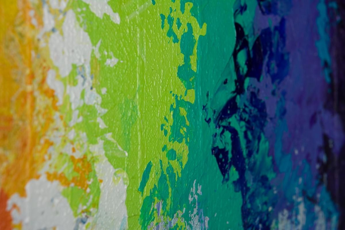 """Rainbow Flowersqiqigallery 30""""x24"""" Original Modern Abstract in Yellow and Green Wall Art"""