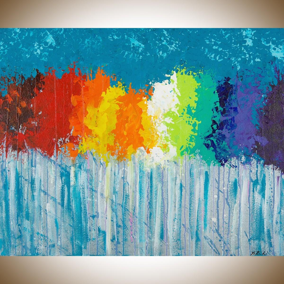 """Rainbow Flowersqiqigallery 30""""x24"""" Original Modern Abstract with Oil Painting Wall Art on Canvas"""