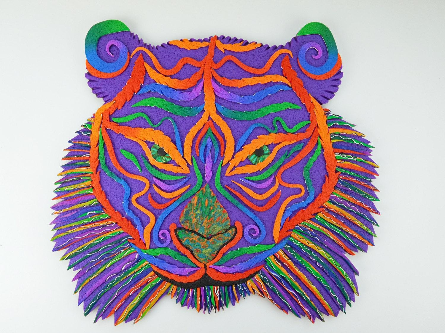 Rainbow Tiger Polymer Clay Wall Art Or Clock In Crazy Stripe For Polymer Clay Wall Art (Image 18 of 20)