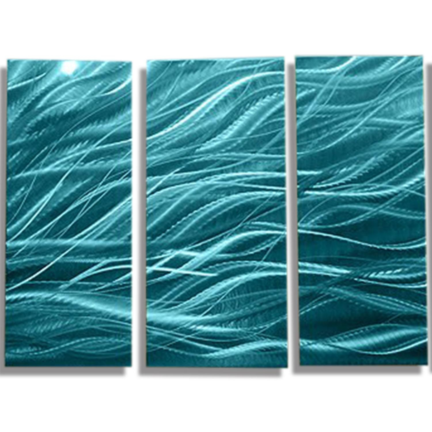 Rays Of Hope Aqua - Large Modern Abstract Metal Wall Artjon in Blue And Green Wall Art