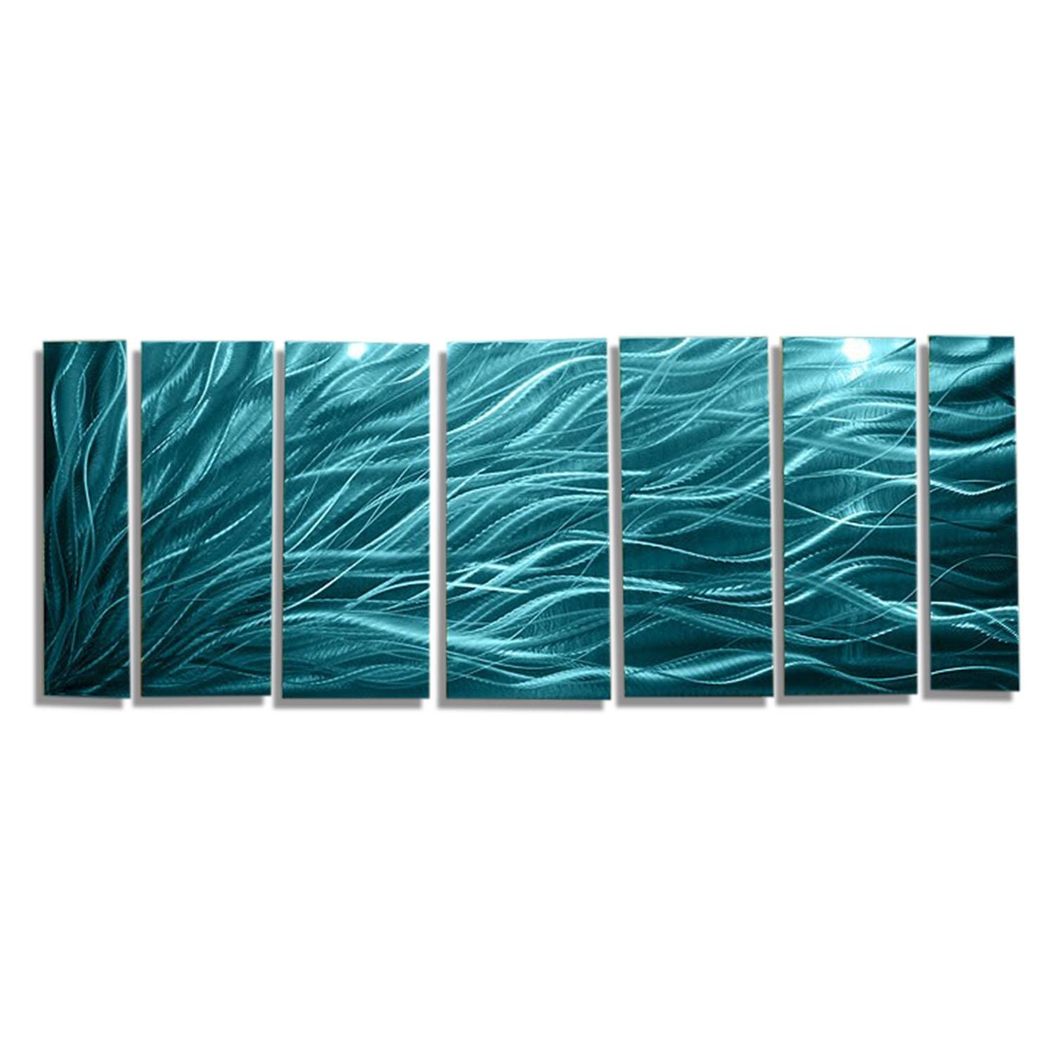 Rays Of Hope Aqua Xl – Huge Modern Abstract Metal Wall Art Regarding Rectangular Metal Wall Art (Image 16 of 20)