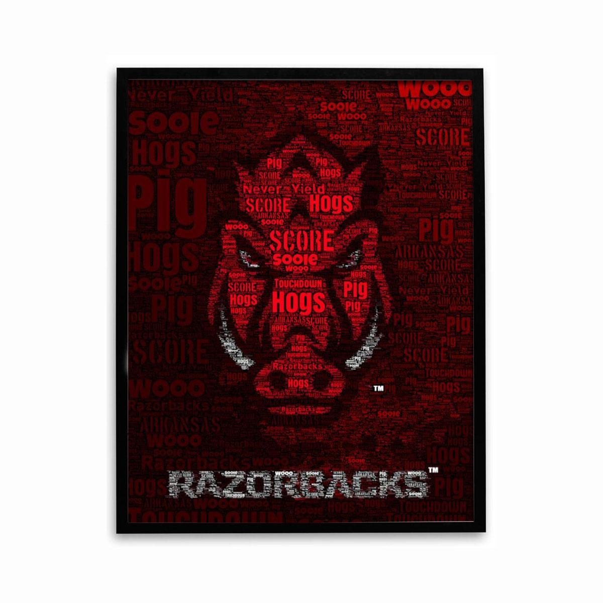 Razorbacks Words Poster With Razorback Wall Art (Image 18 of 20)