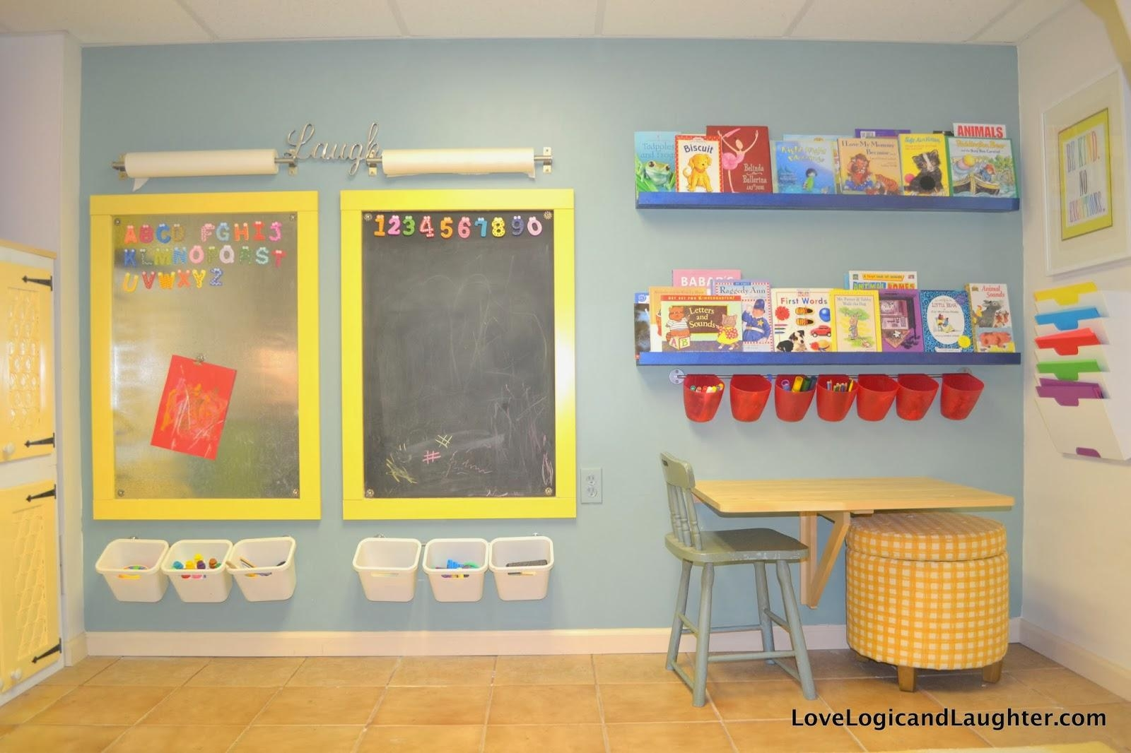 Reading Nook, Swing And Art Wall In The Playroom | Logic & Laughter regarding Playroom Wall Art