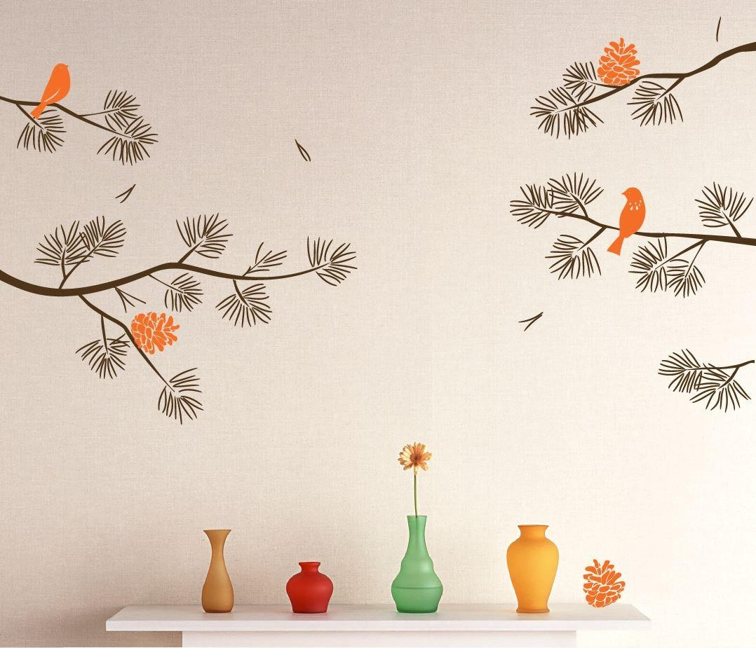Realistic Pine Tree Branch With Birds Decals Wall Sticker intended for Pine Tree Wall Art