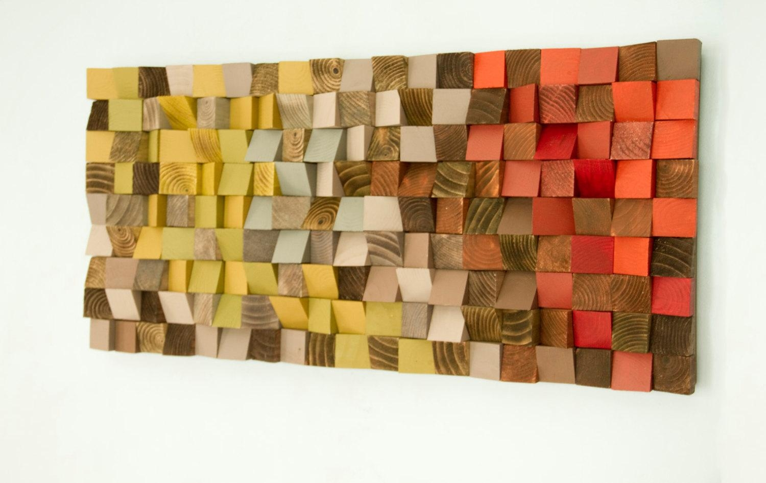 Reclaimed Wood Art Wood Wall Art Industrial Decor Fire With Industrial Wall Art (Image 15 of 20)