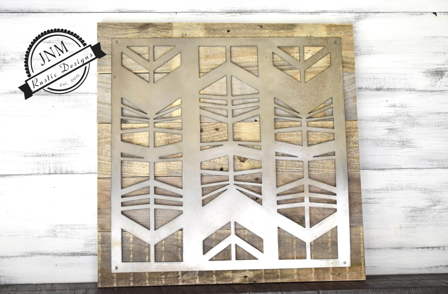 Reclaimed Wood Metal Sign Metal And Wood Large Metal Art In Large Metal Art (Image 14 of 20)