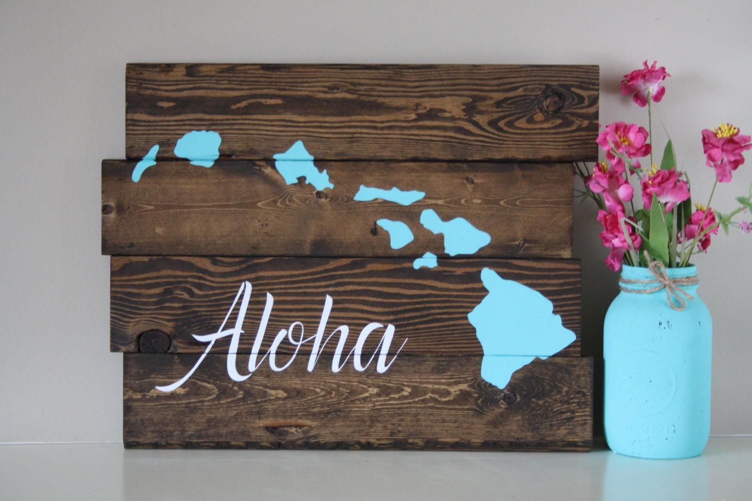 Reclaimed Wood Wall Art Aloha Hawaiian Island Reclaimed With Regard To Hawaiian Islands Wall Art (View 8 of 20)