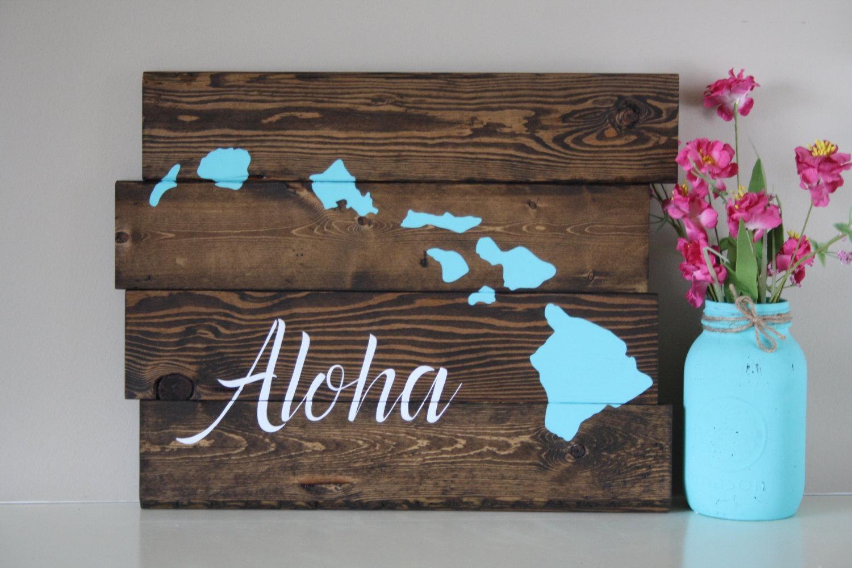 Reclaimed Wood Wall Art Aloha Hawaiian Island Reclaimed With Regard To Hawaiian Islands Wall Art (Image 12 of 20)